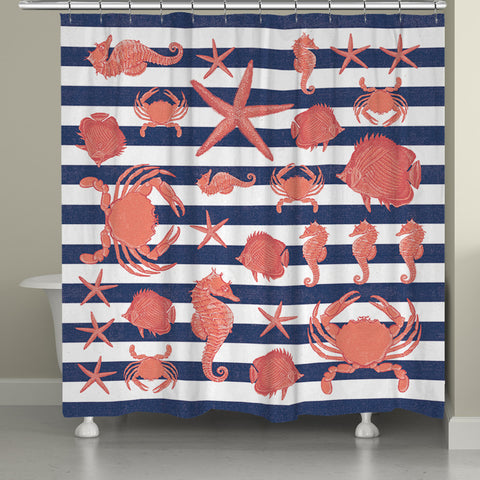 Sea Creature Striped Shower Curtain