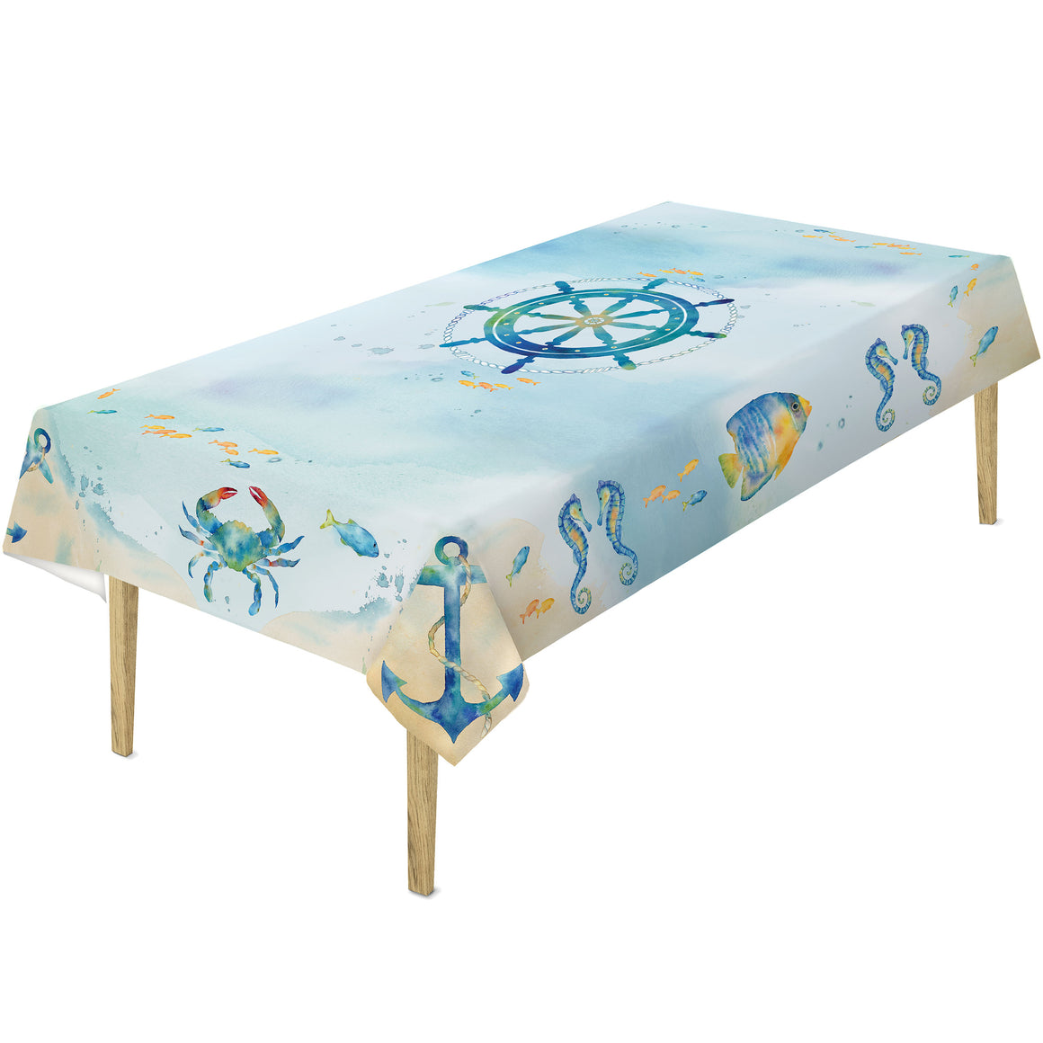 "Add a splash of fun to your dining room or outdoor space with Laural Home's ""Sea Splash Tablecloth"". This fun arrangement of iconic sea life motifs arranged on this tablecloth makes a great summer piece for those who love the vibrant energy of the sea."