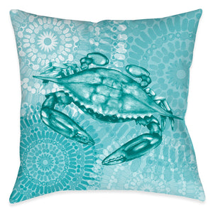Sea Life Medallion Crab Outdoor Decorative Pillow