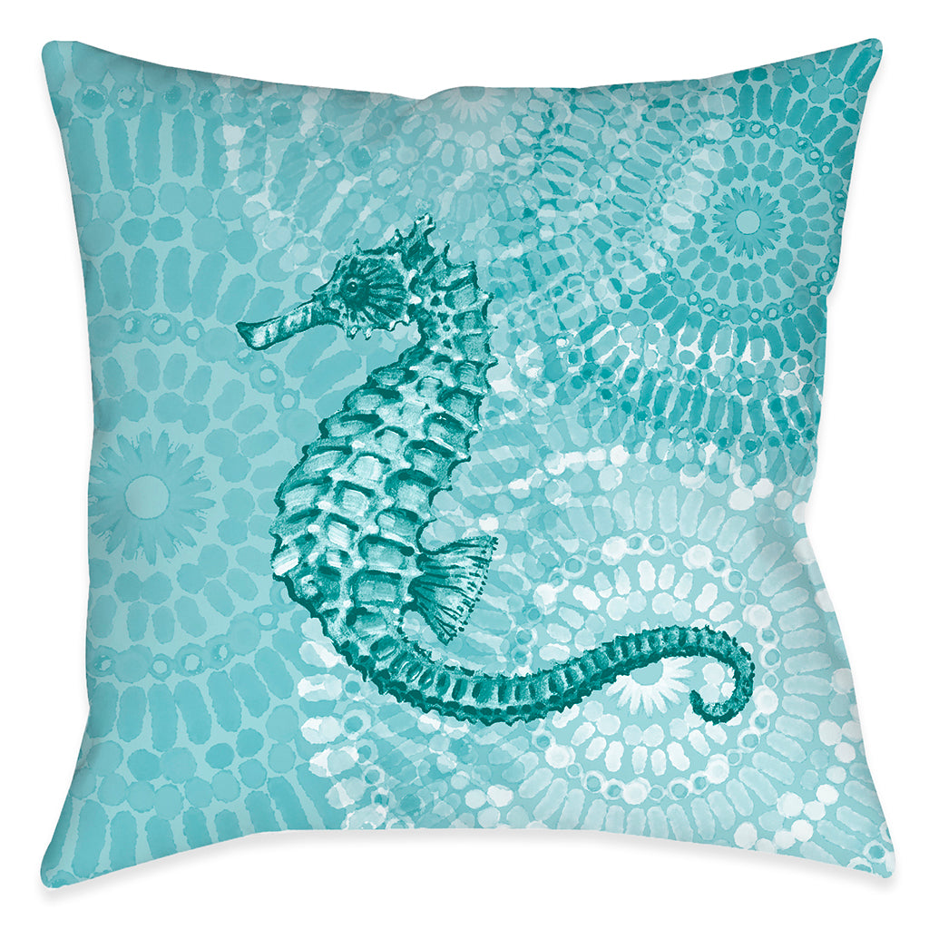 Sea Life Medallion Seahorse Outdoor Decorative Pillow