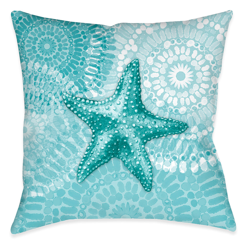 Sea Life Medallion Starfish Outdoor Decorative Pillow