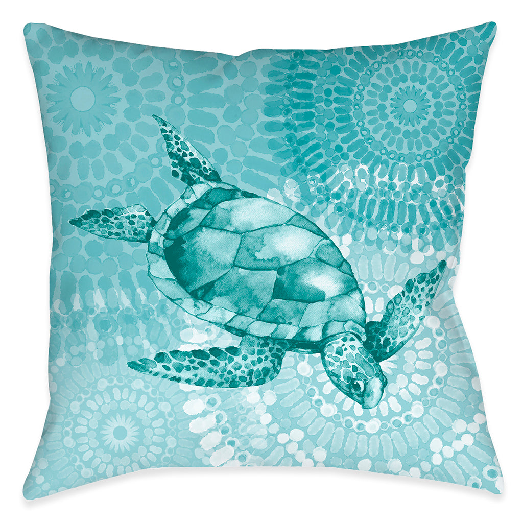 Sea Life Medallion Turtle Outdoor Decorative Pillow