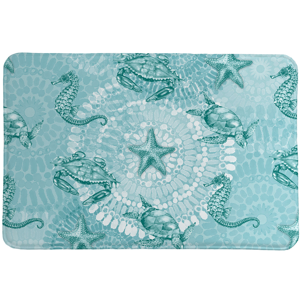 Sea Life Medallion Memory Foam Rug