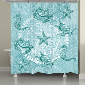 Sea Life Medallion Shower Curtain