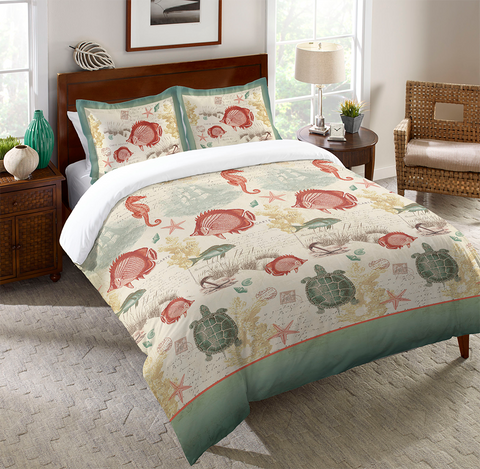 Coral Seaside Postcard Duvet Cover