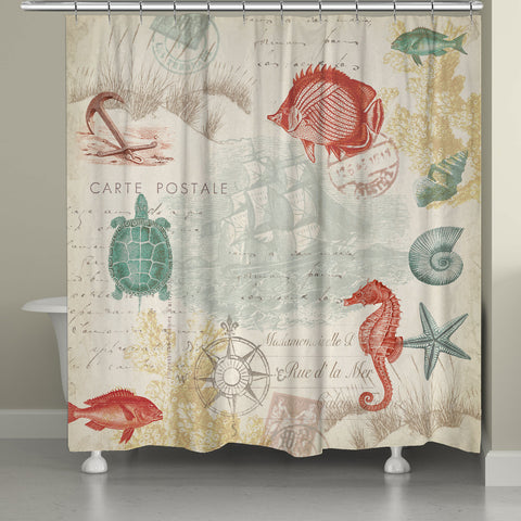 Coral Seaside Postcard Shower Curtain
