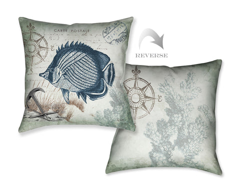 Seaside Postcard Fish Indoor Decorative Pillow