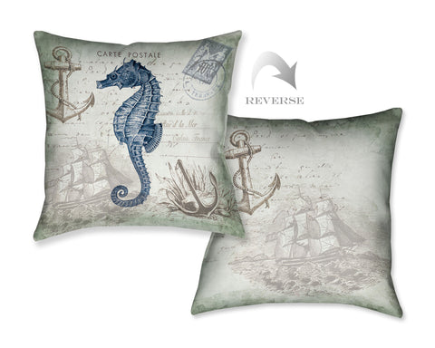 Seaside Postcard Seahorse Indoor Decorative Pillow