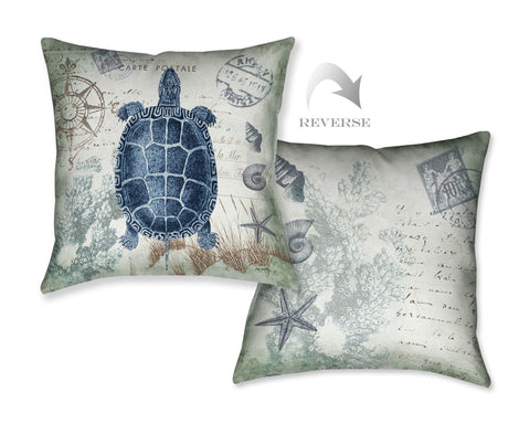 Seaside Postcard Turtle Indoor Decorative Pillow