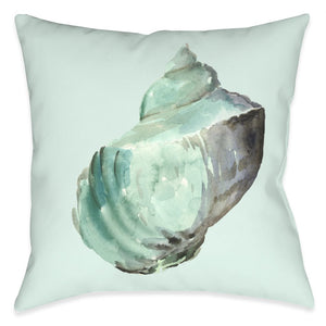 Shell In Mint Outdoor Decorative Pillow