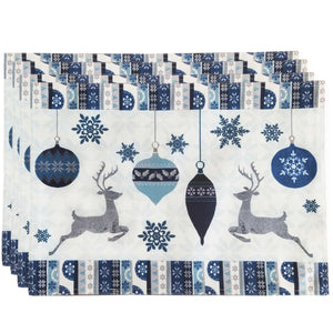 This fun, patterned design features dancing reindeer and classic snowflake icons in cool winter blue hues. The festive tones of this design will make a unique, elegant addition to your dining decor this holiday season.