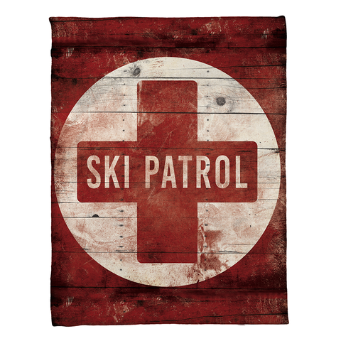 Red Ski Patrol Fleece Throw