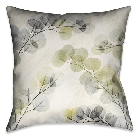 Smoky X-Ray of Eucalyptus Leaves Indoor Decorative Pillow