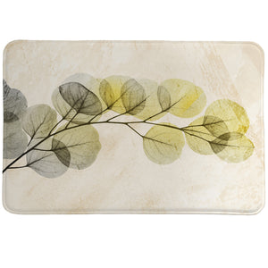 Smoky X-Ray of Eucalyptus Memory Foam Rug showcase eucalyptus branches set in neutral shades such as grey and green.