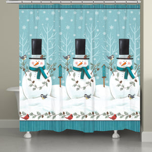 Friendly Snowmen Shower Curtain