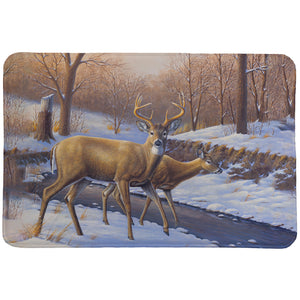 Snowy Deer Creekside Memory Foam Rug