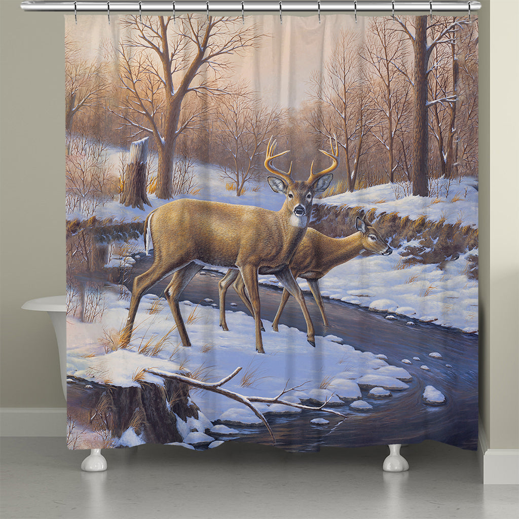 Snowy Deer Creekside Shower Curtain