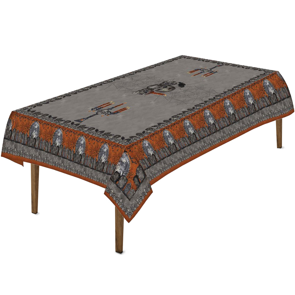 Something Wicked Tablecloth features a variety of traditional Halloween imagery such as skulls, candles, a crow, and a tombstone border.