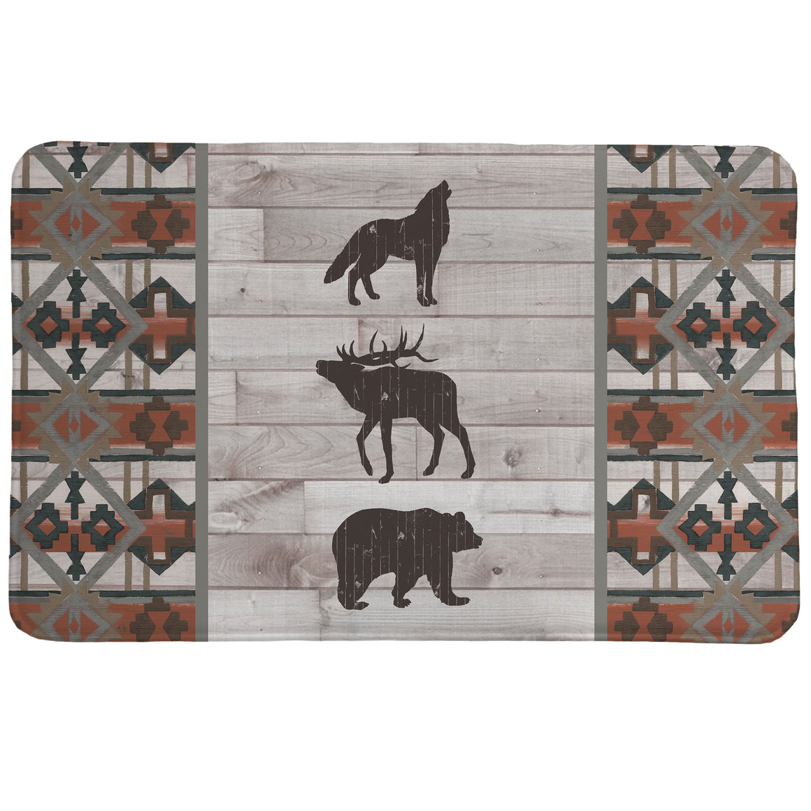 Southwest Lodge Memory Foam Rug features a southwestern pattern and wild animal icons set on a gray wooden planked background with terra cotta colored accents.