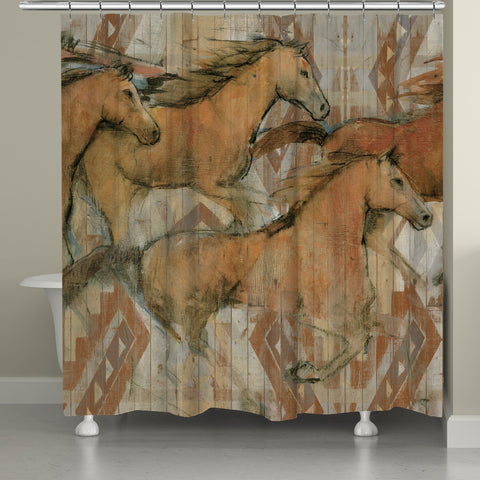 Southwestern Horses Shower Curtain