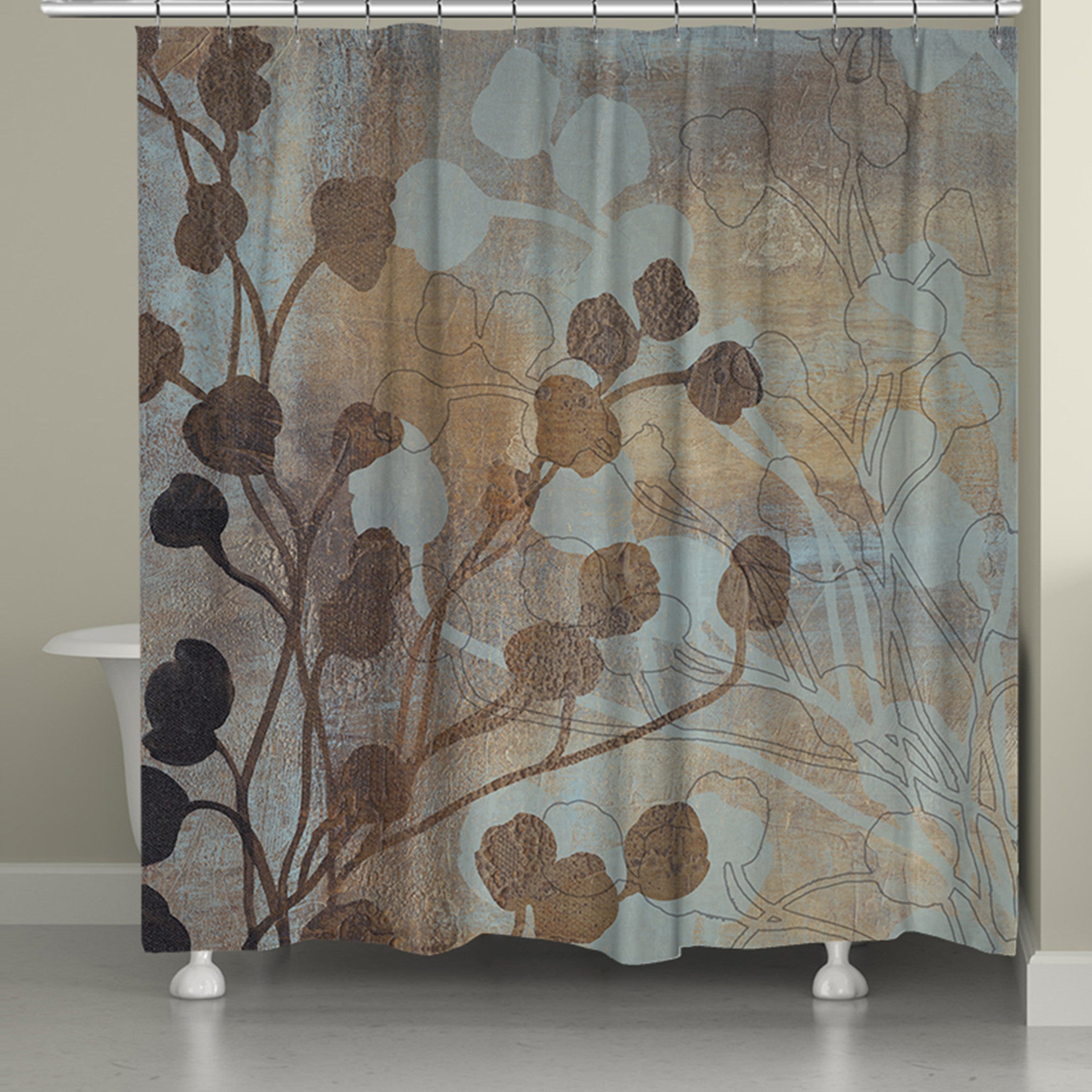 Spa Blue And Gold Shower Curtain Laural Home