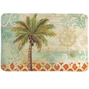 Spice Palm Memory Foam Rug features a palm tree on an ornate coastal-themed background with a stylish coral border.