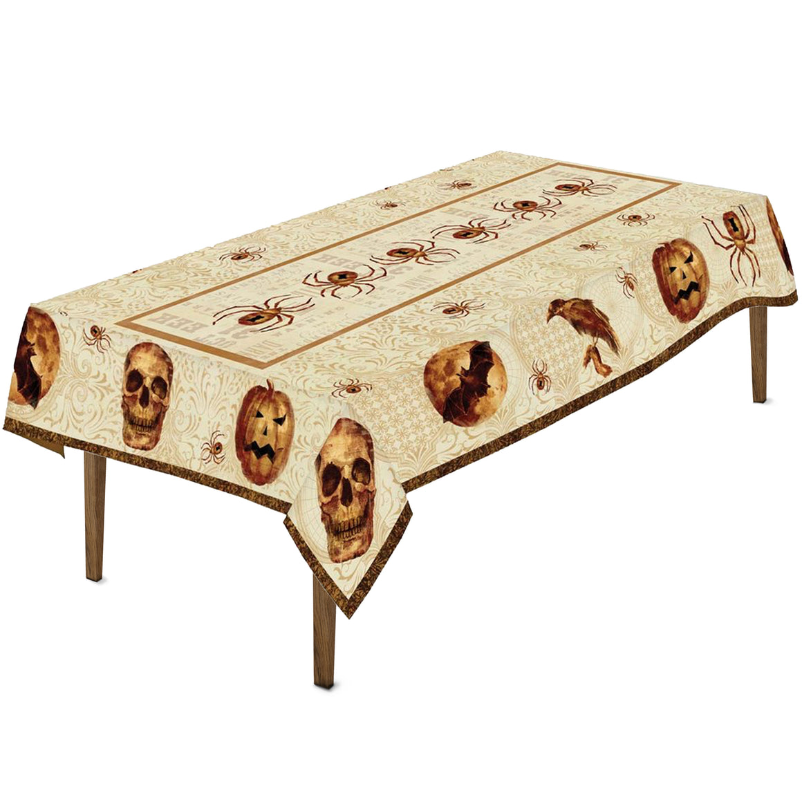 Spooky Halloween Tablecloth is crawling with spiders, crows, skulls, and Jack-o'-lanterns set in a simple orange color palette.