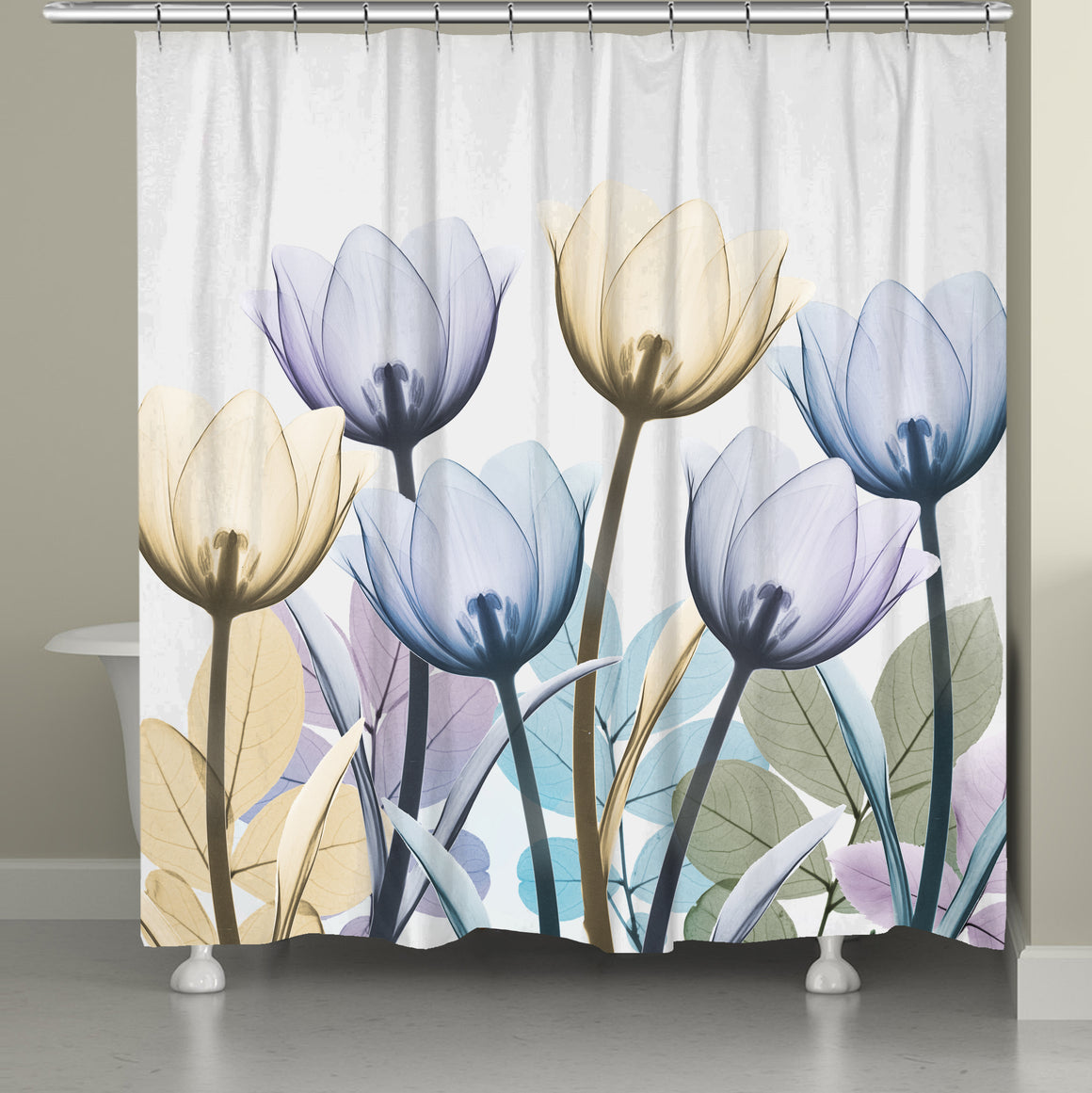 Spring X-Ray Tulips Shower Curtain