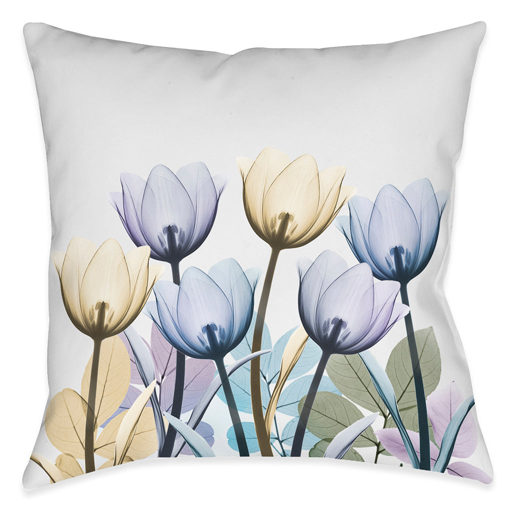 Spring X-Ray Tulips Outdoor Decorative Pillow