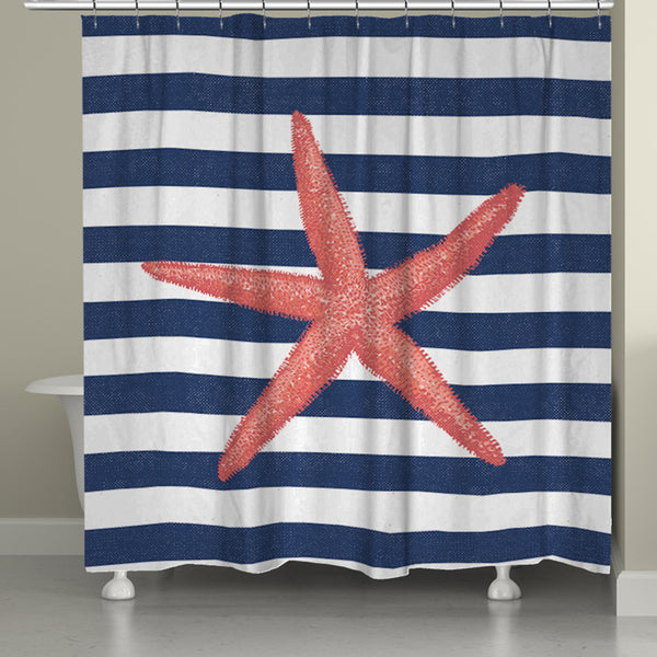 Starfish Stripe Shower Curtain Laural Home