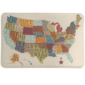 States Collage Memory Foam Rug features colorful letters that spell the states' names and form a map of the United States over a distressed textured background.