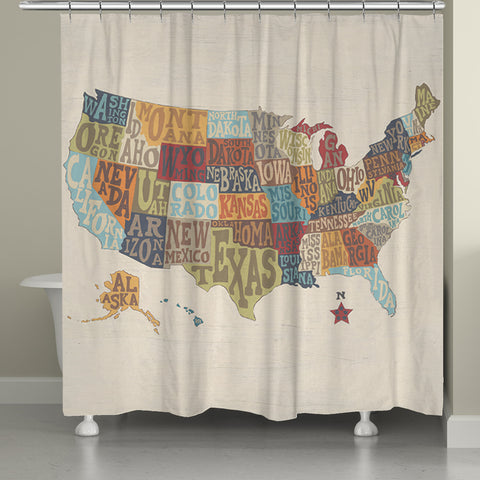 States Collage Shower Curtain