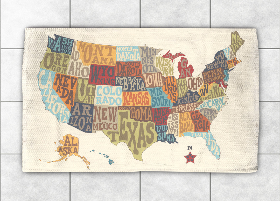 States Collage Accent Rug