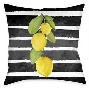 Striped Lemons Outdoor Decorative Pillow