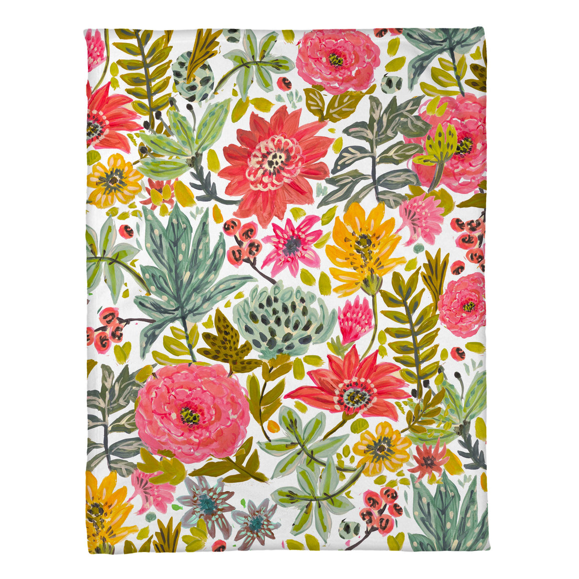"The ""Succulent Floral Fleece Throw"" features a wide variety of vibrant colors, flowers, and succulents. The bright hues make for an optimistic and fun looking design sure to add liveliness to any living space."