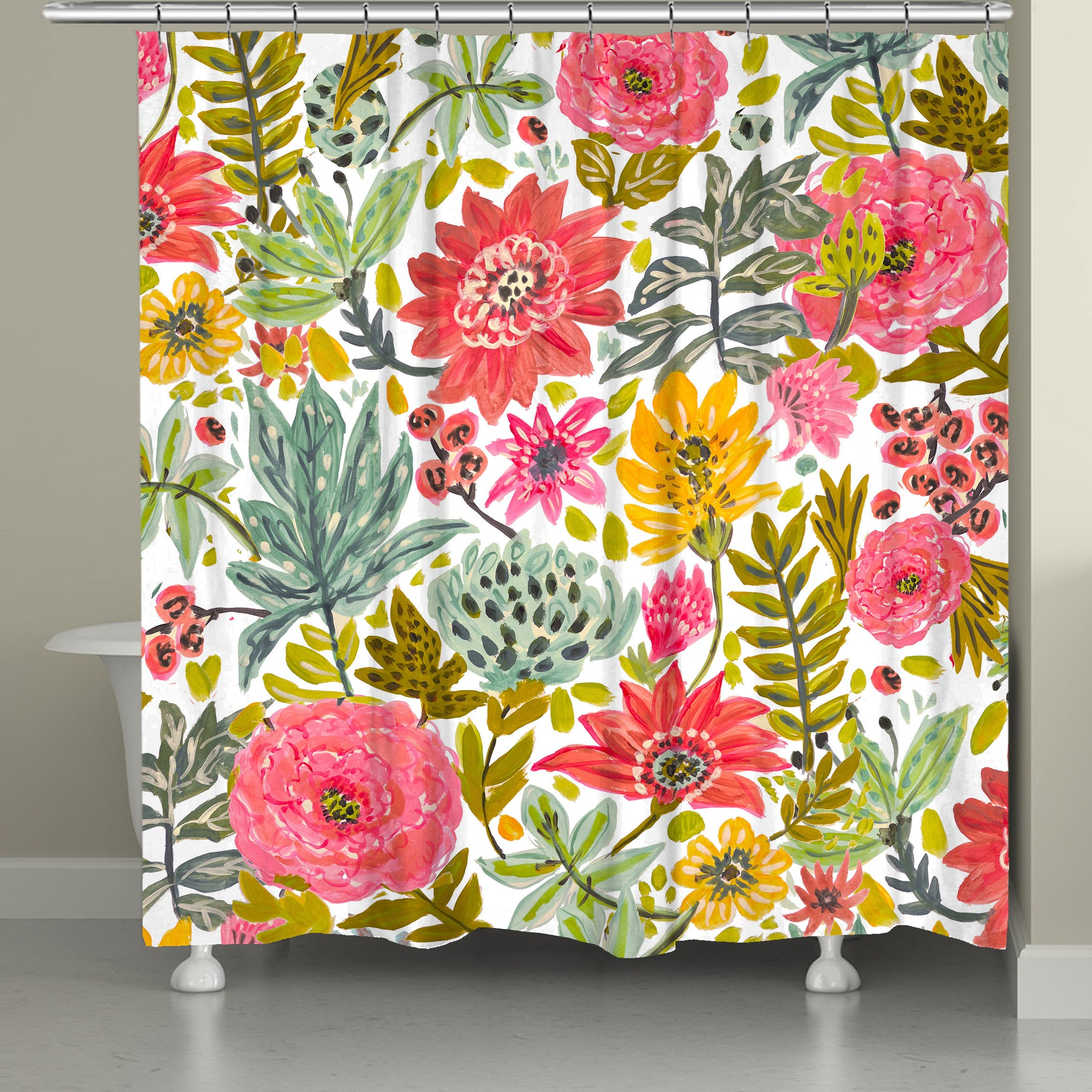 Succulent Floral Shower Curtain Laural Home