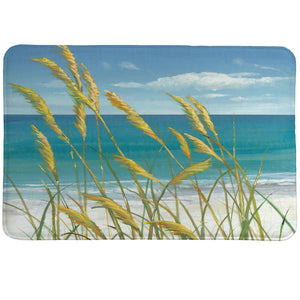 Summer Breeze Memory Foam Rug shows a picture-perfect, relaxing beachside setting marked by sand and sea.