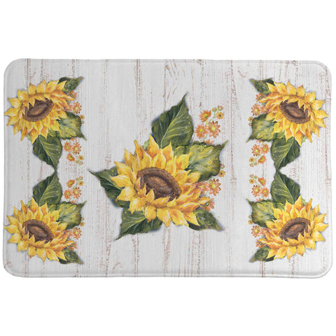 Sunflowers on Shiplap Memory Foam Rug
