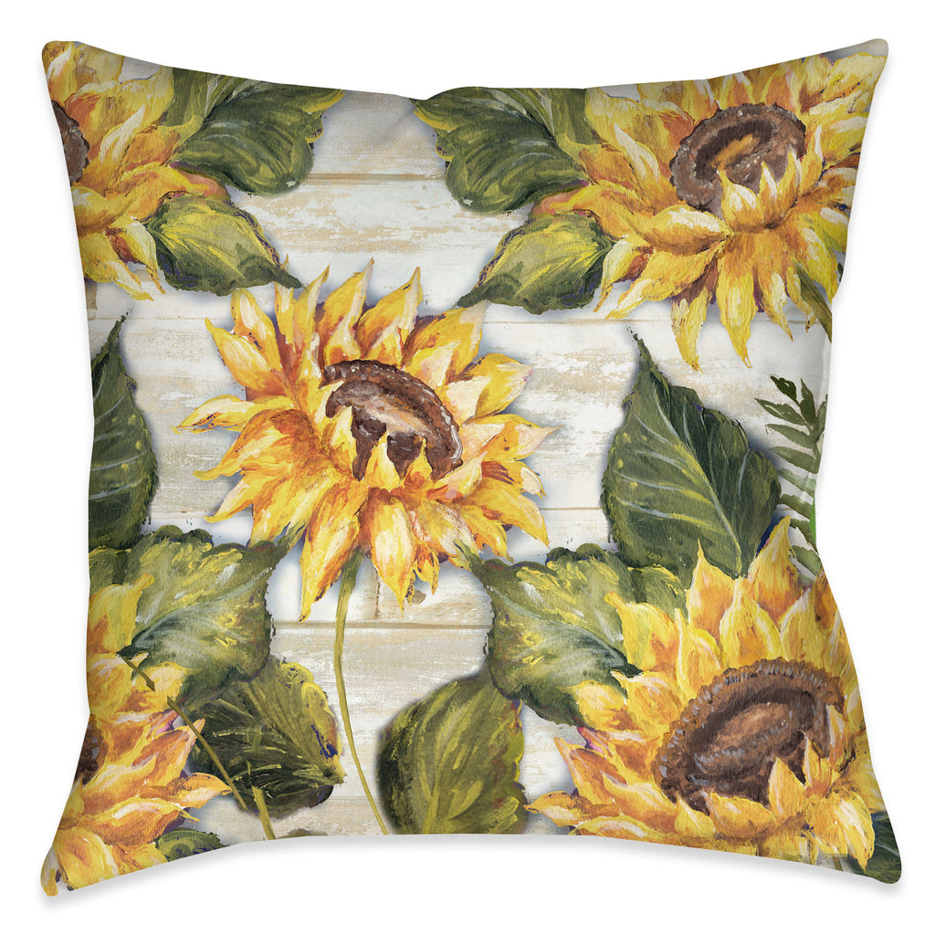 Sunflowers On Shiplap Indoor Decorative Pillow