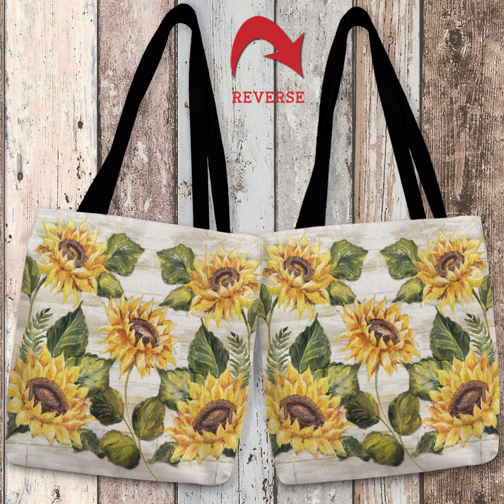 Sunflower on Shiplap Tote Bag