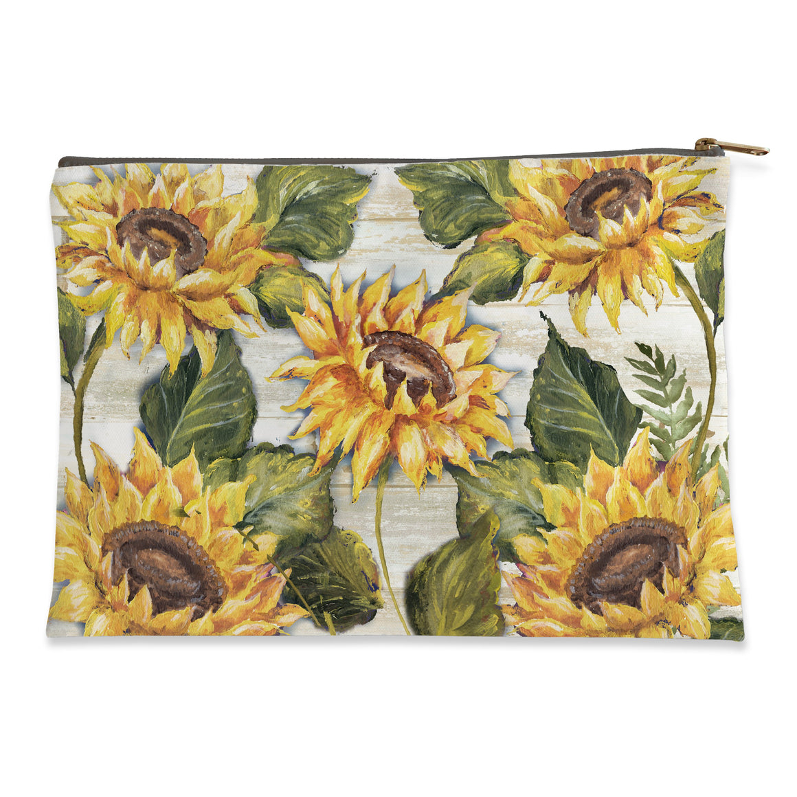 Sunflower on Shiplap Flat Pouch