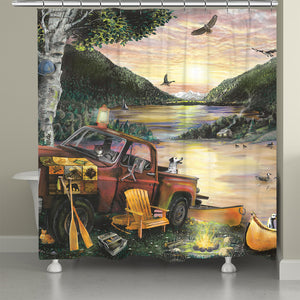 Sunset Lake Shower Curtain
