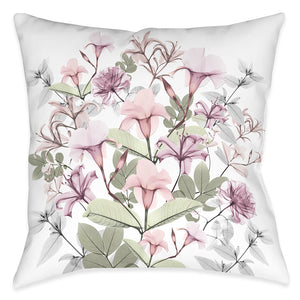 Sweet Blush Bouquet X-Ray Outdoor Decorative Pillow