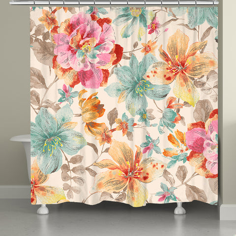 Sweet Warm Summer Blossoms Shower Curtain