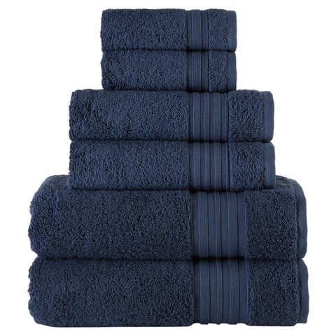 Navy Turkish Spa Collection 6-pc Cotton Towel Set