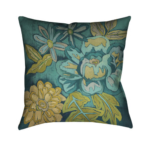 Teal Bouquet II Outdoor Decorative Pillow