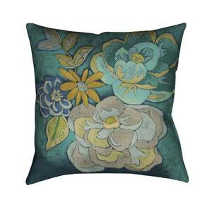 Teal Bouquet I Outdoor Decorative Pillow