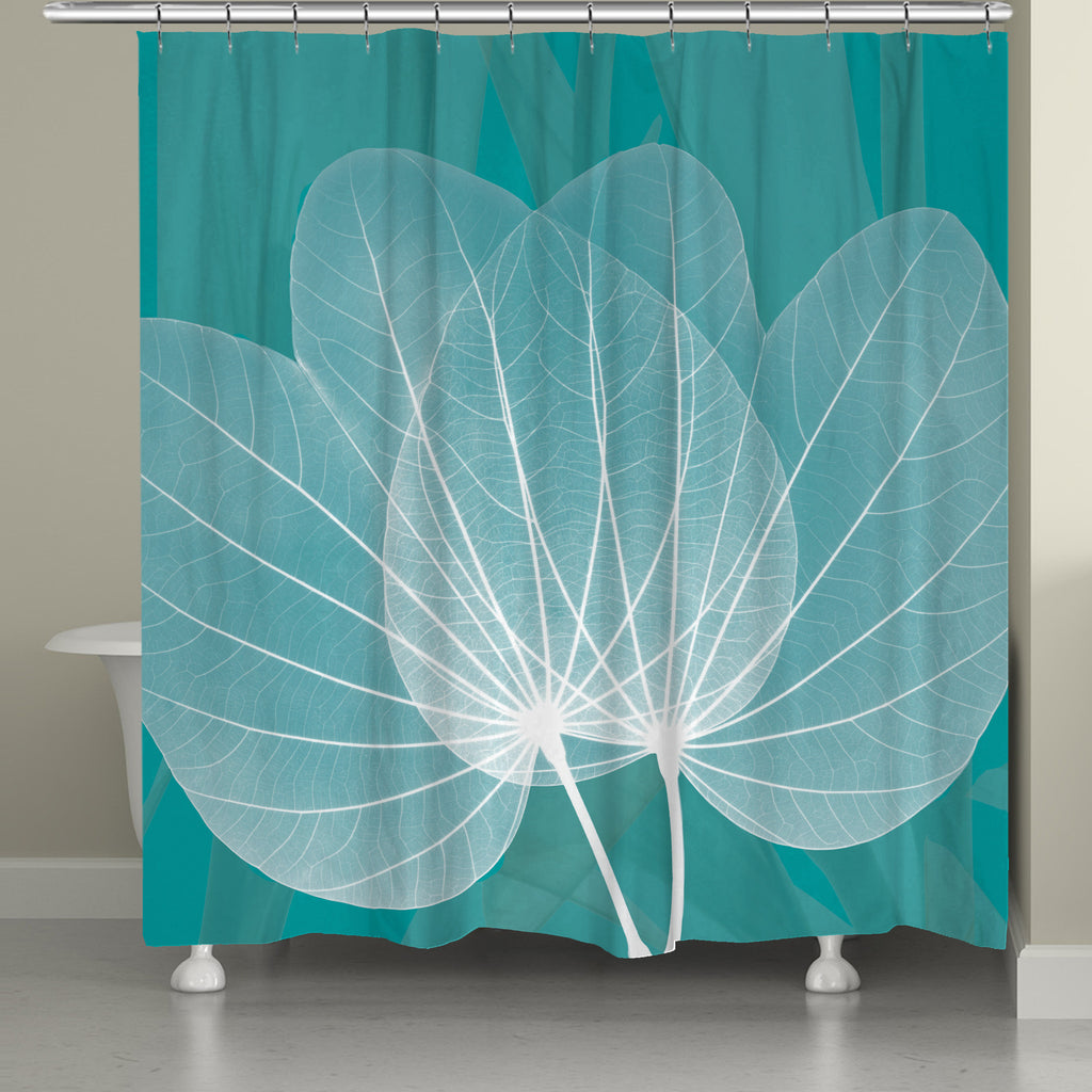 Translucent Teal X Ray Leaves Shower Curtain