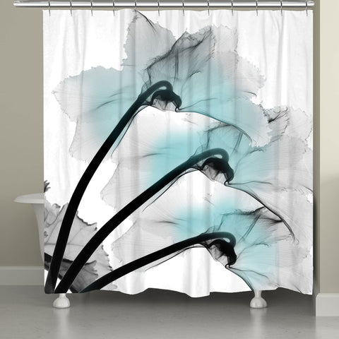 Blue Orchid X-Ray Flower Shower Curtain