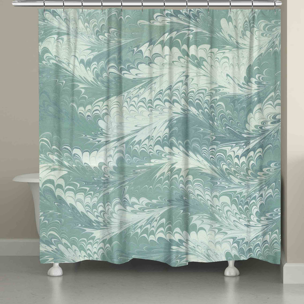 Pastel Mint Marble Shower Curtain